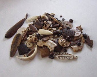 Buffalo Bone Beads Pendants 1/2 LB Assortment mixed lot Jewelry Beads Tribal Crafts Craft Supplies Bone Beads