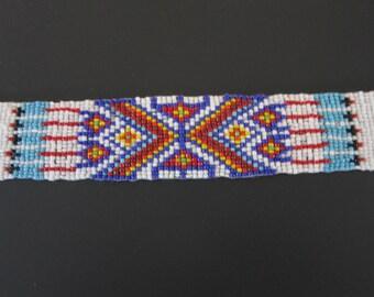 Glass Beaded Strip 3 sizes  Tribal Regalia Bead work  Leather Craft S3
