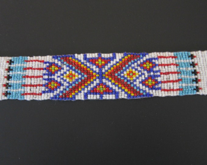 Glass Beaded Strip 3 sizes  Tribal Regalia Bead work  Leather Craft S3