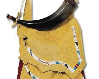 Indian Trapper Style Possibles Shooters Leather Bag Kit Reenactors Shoulder Bag