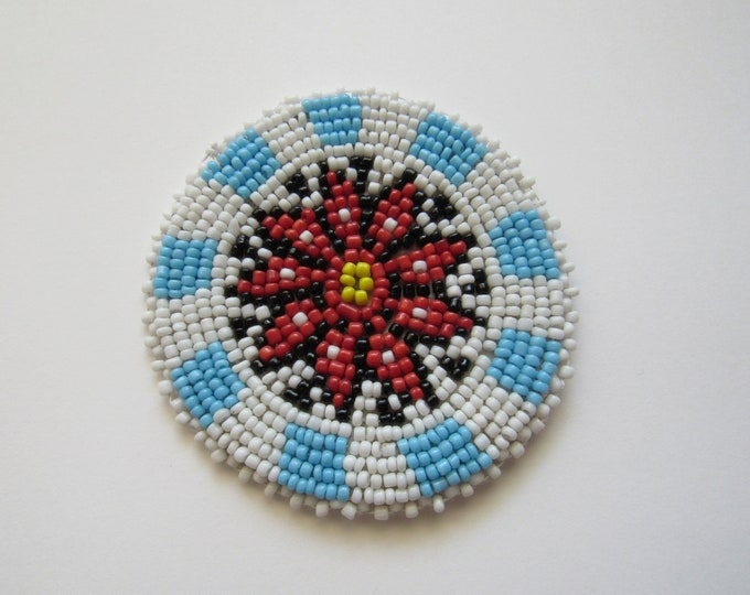Beaded Rosette Medallion Tribal Regalia Beadwork Craft Sewing Leather Patch 10A