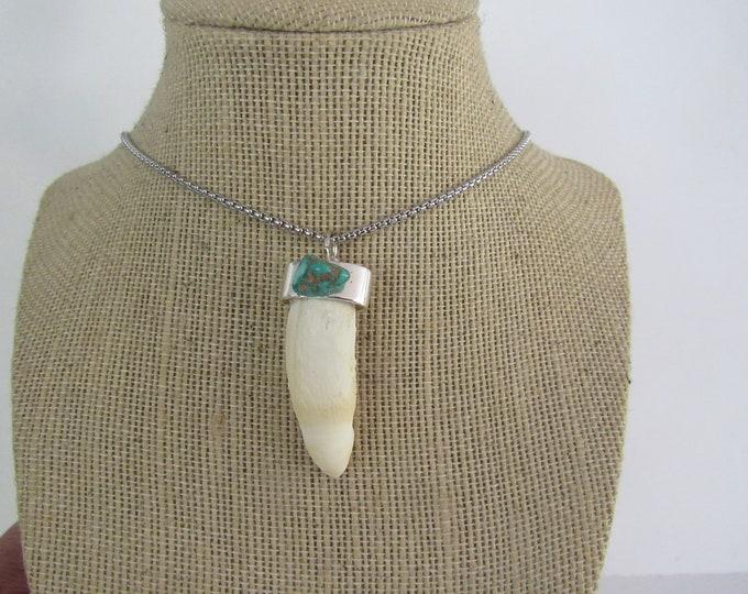 Alligator Tooth Gator Pendant Animal Bone Turquoise Necklace Jewelry Statement N1083