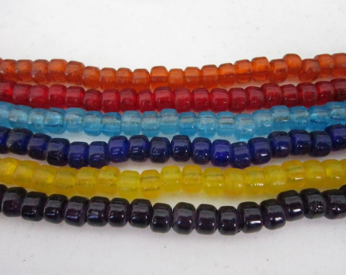 Translucent Glass Crow Pony Beads 9mm x 6mm 100 pcs  Jewelry/Craft Projects You choose 7 color choices