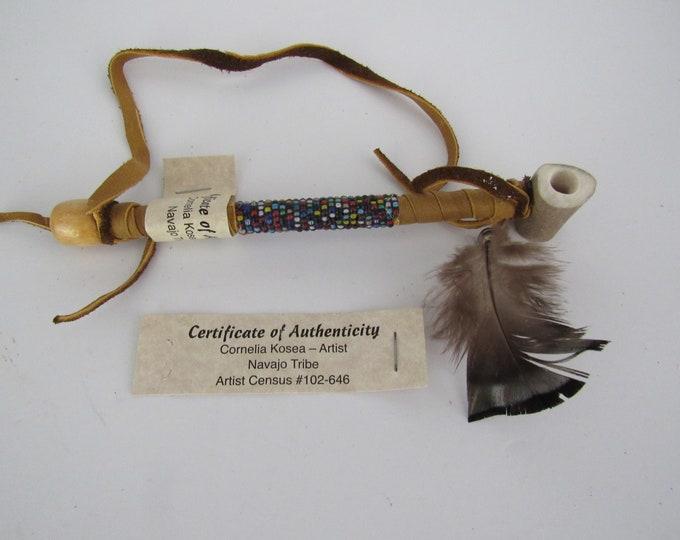 Navajo Antler Pipe Peace Mixed Beaded Deer Antler Buckskin Hippie Pipe  Handcrafted COA 1