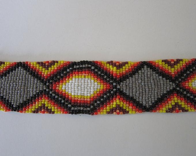 Glass Beaded Strip 20 x 1.25  Tribal Regalia Beadwork Craft S1