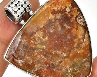 Red Moss Agate Pendant Oregon Agate Necklace  Sterling Silver Crystal Boho Jewelry P127