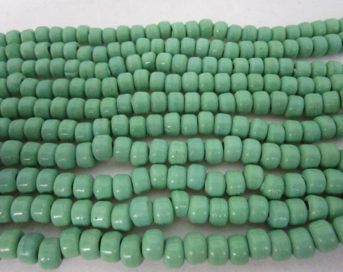 Glass Crow Pony Beads 9 x 6mm GREEN 100 per strand Jewelry/Craft Projects