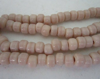 Glass Crow Pony Beads 9 x 6mm OFF WHITE 100 per strand Jewelry/Craft Projects