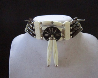 Buffalo Bone Choker Bone Necklace Black/White Regalia Native Necklace Tribal Choker Boho Jewelry