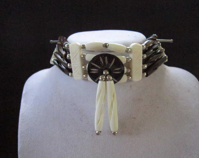 Buffalo Bone Choker Bone Necklace Black/White Regalia Native Necklace Tribal Choker Boho Jewelry