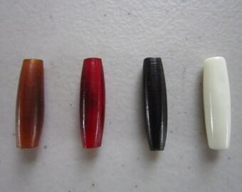 "25   Buffalo Bone/Horn 1""  Hairpipe Beads Amber, Black Red & White Jewelry/craft Making"