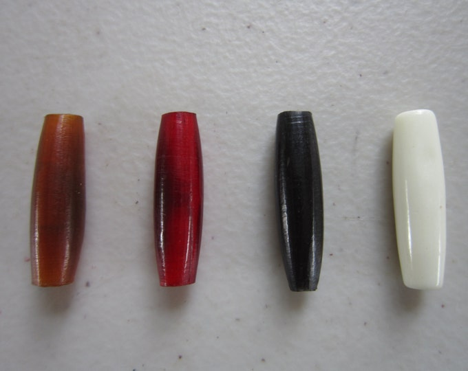 "100   Buffalo Bone/Horn 1""  Hairpipe Beads Amber, Black Red & White Jewelry/craft Making"