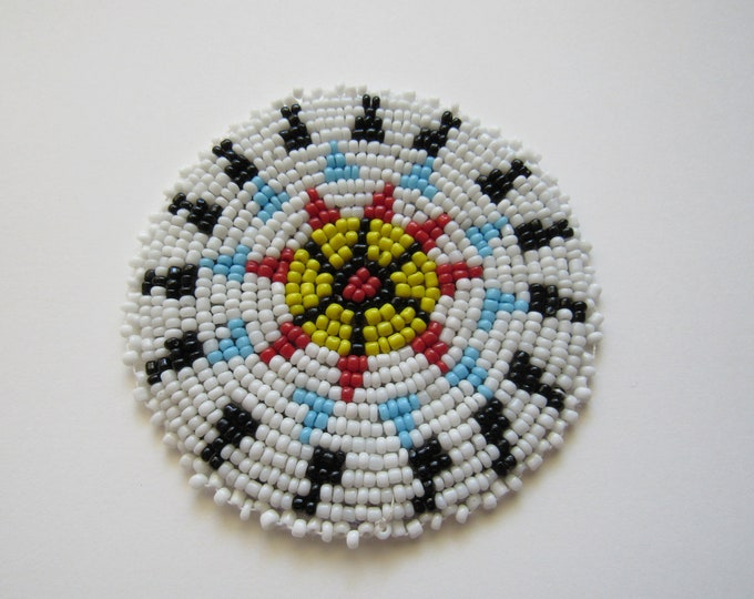 Beaded Rosette Medallion Tribal Regalia Beadwork Craft Sewing Leather Patch 5B
