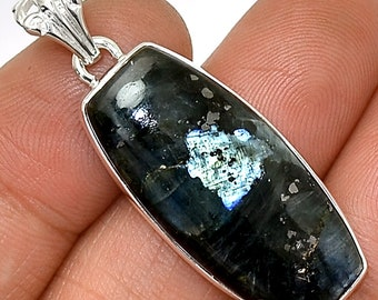 Black Moonstone Pendant Larvikite Necklace 925 Sterling Silver Crystal Boho Jewelry P266