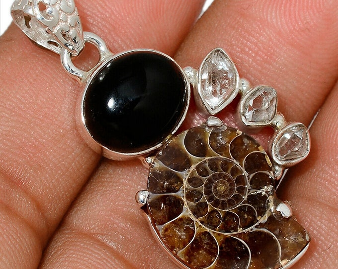 Ammonite Fossil Pendant Black Onyx Necklace 925 Sterling Silver Boho Jewelry P466