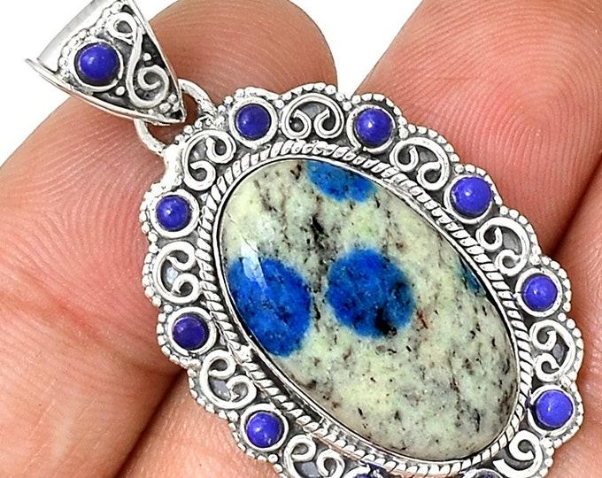 Blue Azurite Pendant & Lapis Necklace  Gemstone Pendant 925 SS Crystal Boho Jewelry P156