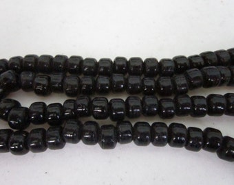 Glass Crow Pony Beads 9 x 6mm  BLACK 100 per strand Jewelry/Craft Projects