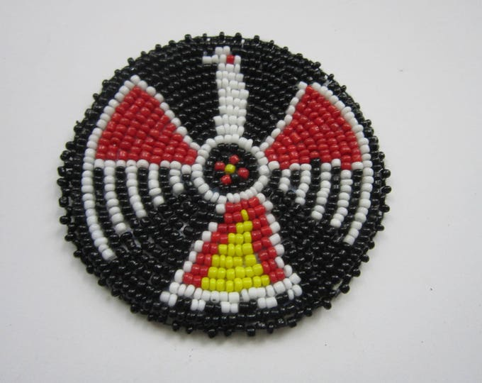 "3"" Glass Beaded Thunderbird  Rosette Medallion Tribal Regalia Beadwork Craft 9A"