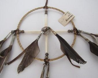 "6"" Navajo Medicine Wheel Buckskin Leather & Feathers Handmade Good Dreams w/COA"