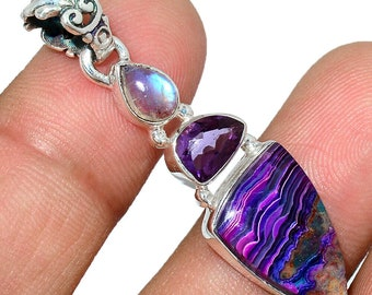 Laguna Lace Agate Pendant Amethyst Necklace  925 Sterling Silver Boho Jewelry P546
