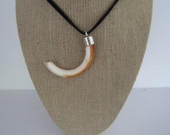 Beaver Tooth Pendant Necklace Leather Animal Bone Teeth Jewelry N1328