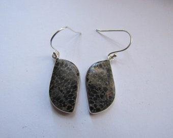 Black Sea Coral Earrings Dangle Nautical  925 Sterling Silver Boho Statement Jewelry E143