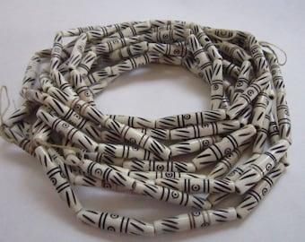 "20 CARVED Buffalo Bone 1.5"" Hairpipe Beads Jewelry Craft CB495"