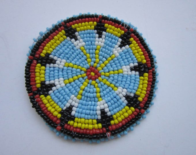 "3"" Glass Beaded Rosette Medallion Tribal Regalia Beadwork Craft 1A"