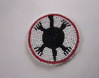 "Glass Beaded 3"" Turtle Rosette Medallion Tribal Regalia Beadwork Craft 7A"