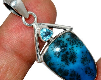 Marine Blue Dendritic Opal PendantTopaz Necklace 925 Sterling Silver Boho Jewelry P563