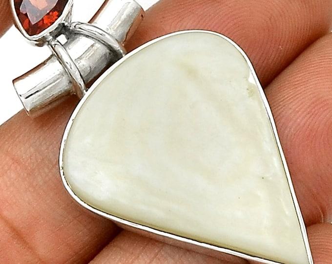 "Mother of Pearl & Garnet  Gemstone Pendant  925 Sterling Silver 1 3/4"" Jewelry P54"