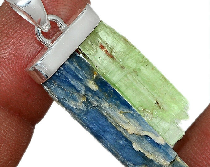 Kyanite Blue/Green  Pendant Natural Necklace  925 Sterling Silver Crystal Boho Jewelry P439