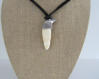 Alligator Tooth Gator Pendant Animal Bone Eagle Necklace Jewelry Statement N1469