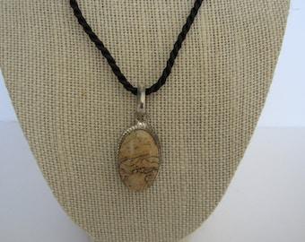 Picture Jasper Gemstone  .925 SS Pendant Necklace Jewelry  N203