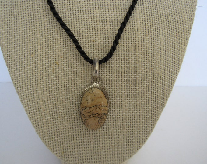 Picture Jasper Gemstone  .925 SS Pendant Necklace Jewelry  N203