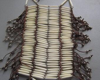 40 Row White Buffalo Bone Breastplate Chest plate Geronimo Regalia Pow Wow Indian