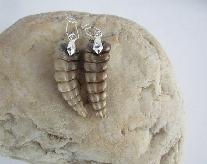 Rattlesnake Rattler Tail  Earrings  Sterling Pair Jewelry  Diamondback Snake Spirit Animal Bone E274