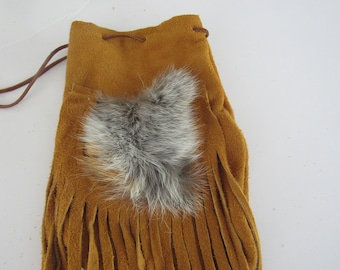 Possibles  Half Moon Drawstring Leather Bag w/ Coyote Fur Possibles Bag Rendezvous  Mountain Medicine Man 2
