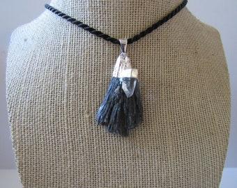 Black Kyanite Pendant Quartz Necklace  Silver Jewelry Crystal Boho Jewelry N896