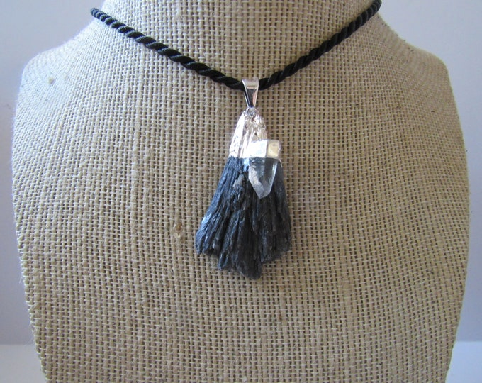 Black Kyanite Pendant Quartz Necklace  Silver Jewelry Crystal Boho Jewelry N896