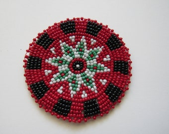 Beaded Rosette Medallion Tribal Regalia Beadwork Craft Sewing Leather Patch 10D