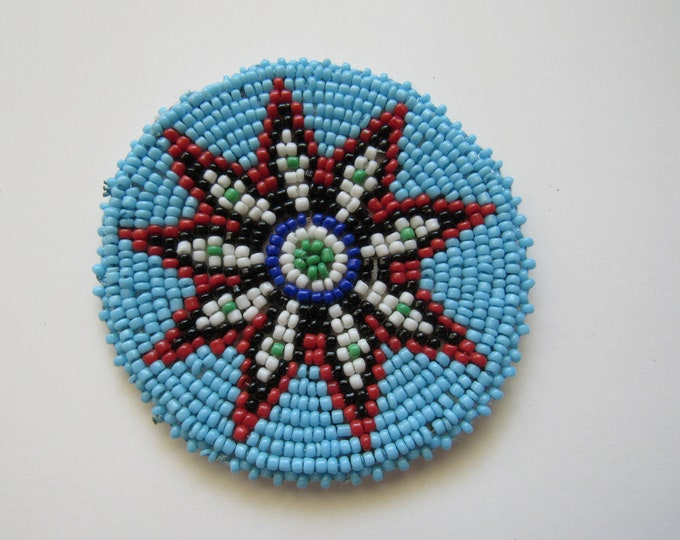 Beaded Rosette Medallion Tribal Regalia Beadwork Craft Sewing Leather Patch 8A