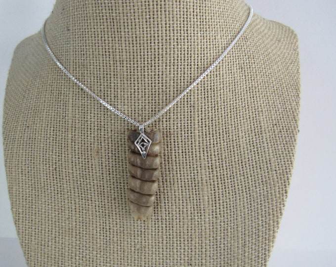 Rattlesnake Rattle Necklace Rattler Pendant Sterling Silver Necklace Bone Jewelry N1090
