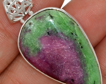 African Ruby/Zoisite Pendant Ruby  Necklace  925 Sterling Silver Boho Crystal Jewelry  P409