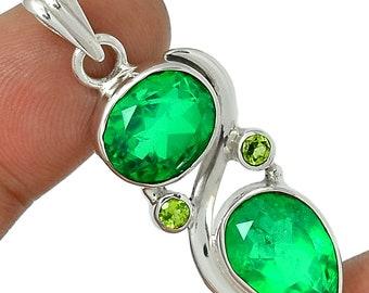 Green Emerald Pendant Necklace  925 Sterling Crystal Boho Jewelry Chakra  P276