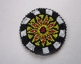 Beaded  Rosette Medallion Tribal Regalia Beadwork Craft 10E