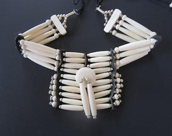 Buffalo Bone Breastplate Choker Buffalo Bone Regalia Choker Indian Hairpipe Choker Native Necklace White