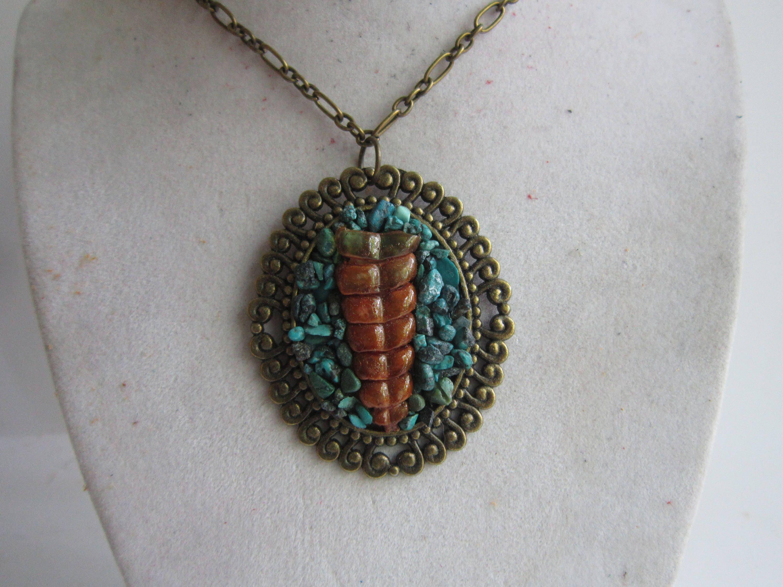 Vintage Rattlesnake Rattle Turquoise Inlay Oval Pendant