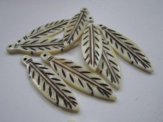 Feather Pendants Buffalo Bone 2 1//2 Pendants Charms Beads Animal Jewelry 905
