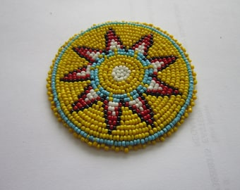 Beaded Rosette Medallion Tribal Regalia Beadwork Craft 4A